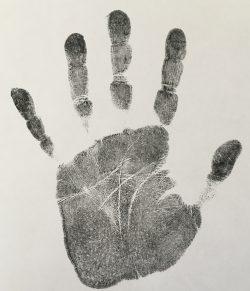 aftryk af hånd til brug ved håndanalyse